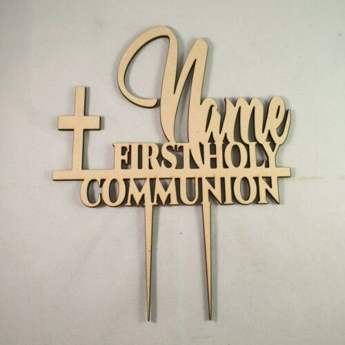 "Personalised Wood/""Holy Communion/""CakeTopper Birthday,Baptism,Christening 21x16cm"