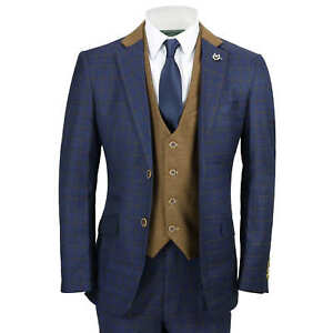 85c18abab Mens 3 Piece Suit Vintage Windowpane Check Navy Blue Smart Tailored ...