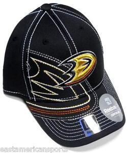 Anaheim-Ducks-NHL-Reebok-Black-Orange-Draft-Hat-Cap-Stitched-Logo-Flex-Fit-L-XL