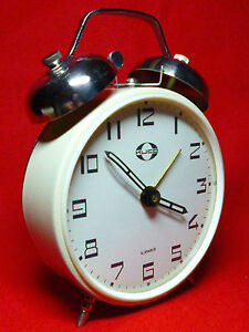 LOUD NEW OLD STOCK Vintage 70's KUCO USSR Winding Alarm Clock with Bells NR111B