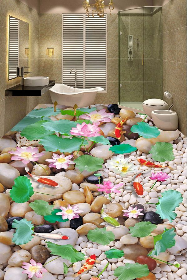 3D stone flower fish 63 Floor WallPaper Murals Wall Print Decal 5D AJ WALLPAPER6