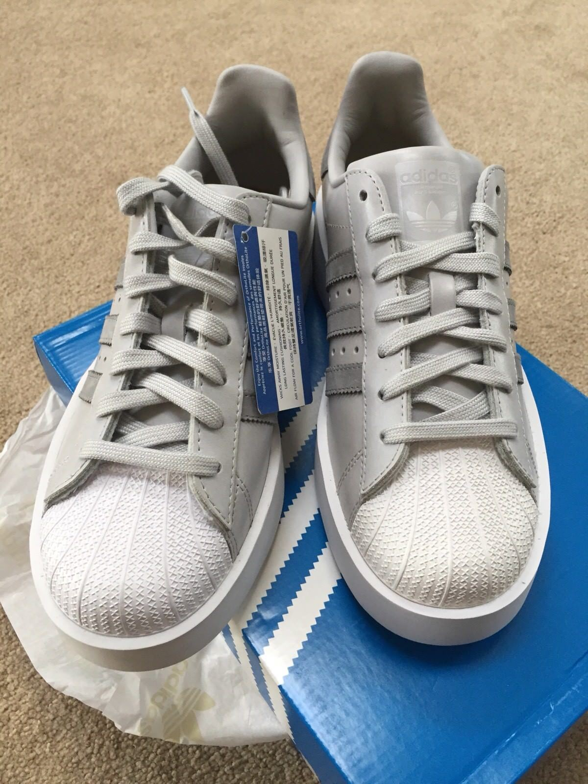 cheap for discount 130ee a46bc ... Adidas Women s Superstar Bold Shoes Size 9 New Grey Grey Grey White  e5fa41 ...