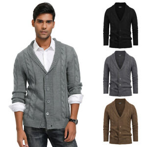 Hommes-Col-Chale-Pull-Cardigan-Tricot-Manches-Longues-Elegant-Cable-Motif-Neuves