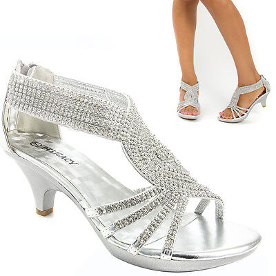 Women Silver Prom Wedding Bridal Rhinestone Low Kitten Heel Party Sandal Shoe US