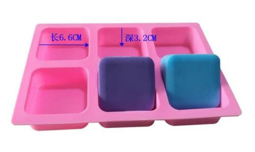 6-Square Soap Mold Silicone Mould For Candy Chocolate Cookie