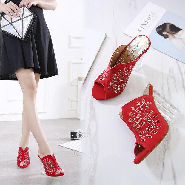 Sandalias zapatillas elegantes talón cuadrado 9.5 cm rojo como piel 9703