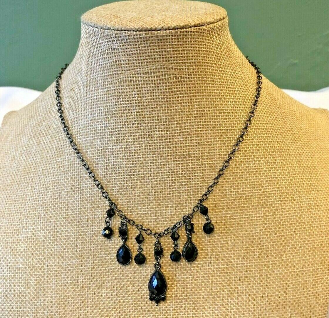 Vintage1928 Dark Silver Tone Black Beads and Faceted Teardrop Gems Necklace