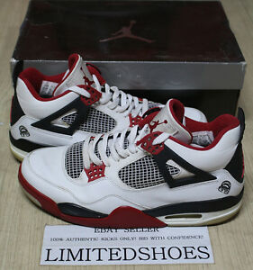 59e312d8cb7928 NIKE AIR JORDAN 4 IV RETRO WHITE VARSITY RED MARS BLACKMON 308497 ...