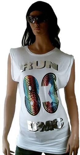 AMPLIFIED RUN DMC Metallic Print 83 1983 Hip Hop Rock Star Tunika T-Shirt M