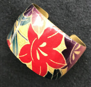 Handmade-Tropical-Colorful-Floral-Flower-Cuff-Bracelet-With-Maker-s-Mark