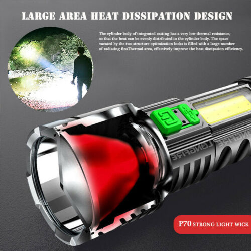 Ultra Bright Outdoor LED Torch Rechargeable Flashlight Tactical Camping Lamp USB