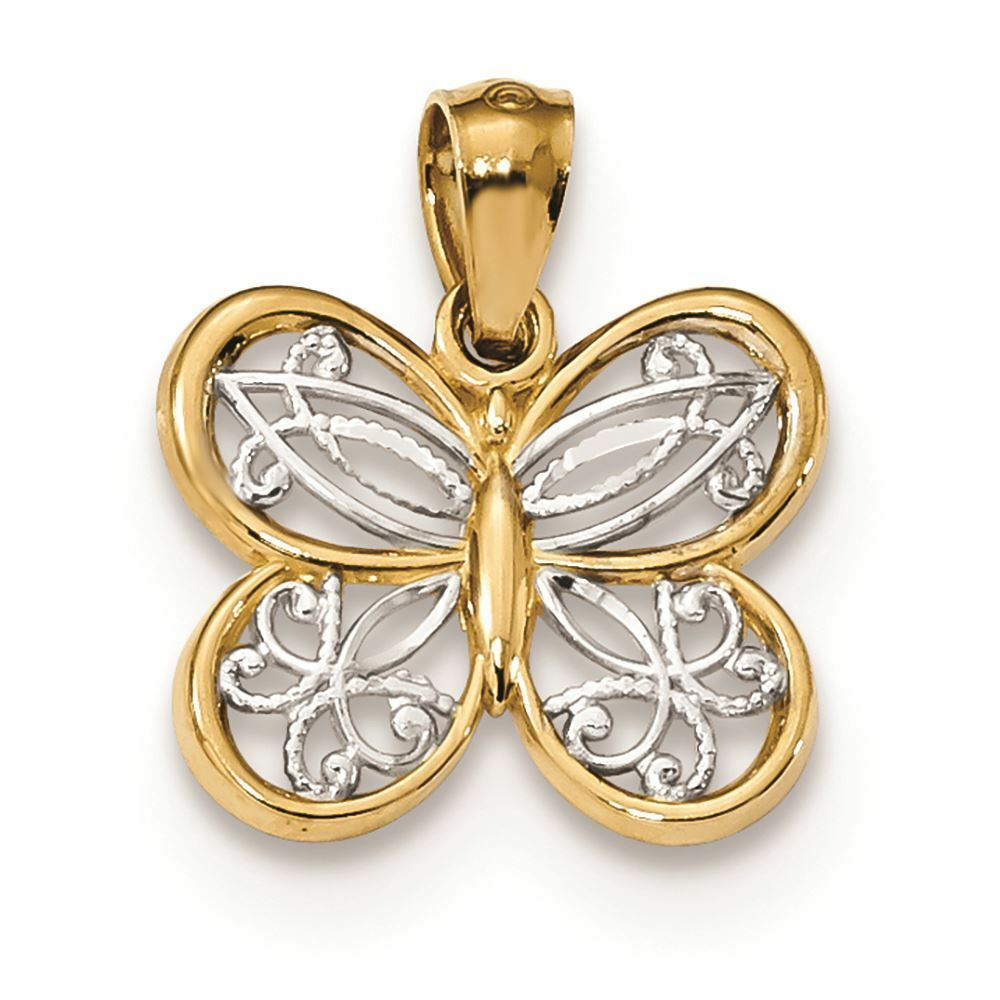 14K Two Tone gold Butterfly Charm Pendant MSRP  121