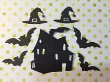 7 Die Cut Sizzix Halloween shapes Haunted House, Bats, Witch Hats - Cardmaking