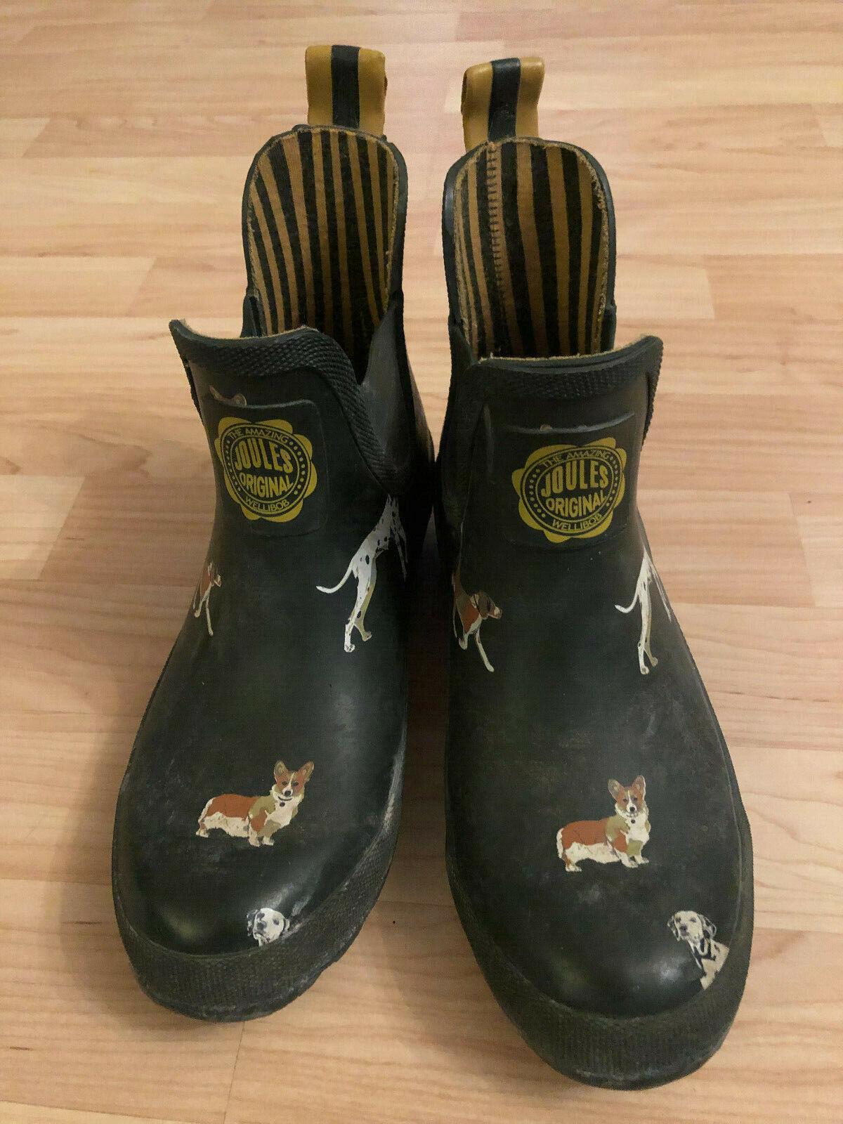 Joules Wellibob Impermeable tirar-en botas de lluvia US 5 Negro Estampado De Corgi perros