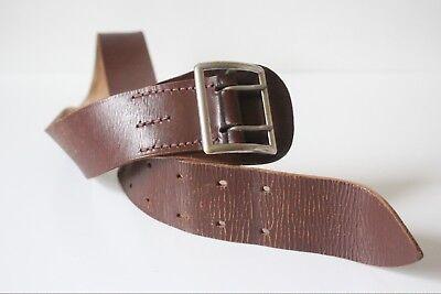 """Disciplinato Unisex Vintage Fatto A Mano Larghezza 2 In. Spessa Marrone Cintura In Pelle 100% Taglia 27"""" -36""""-mostra Il Titolo Originale"""