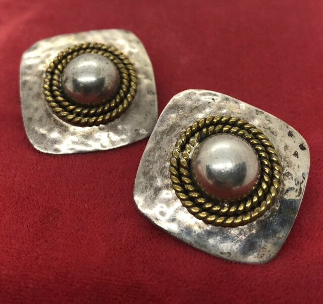 Vintage Sterling Silver Earrings 925 Taxco Mexico Signed Laton Brass Square