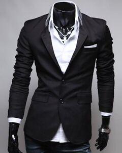 outlet store bcb73 731d6 Dettagli su Blazer (giacca) nera da uomo a maniche lunghe con risvolto  monopetto
