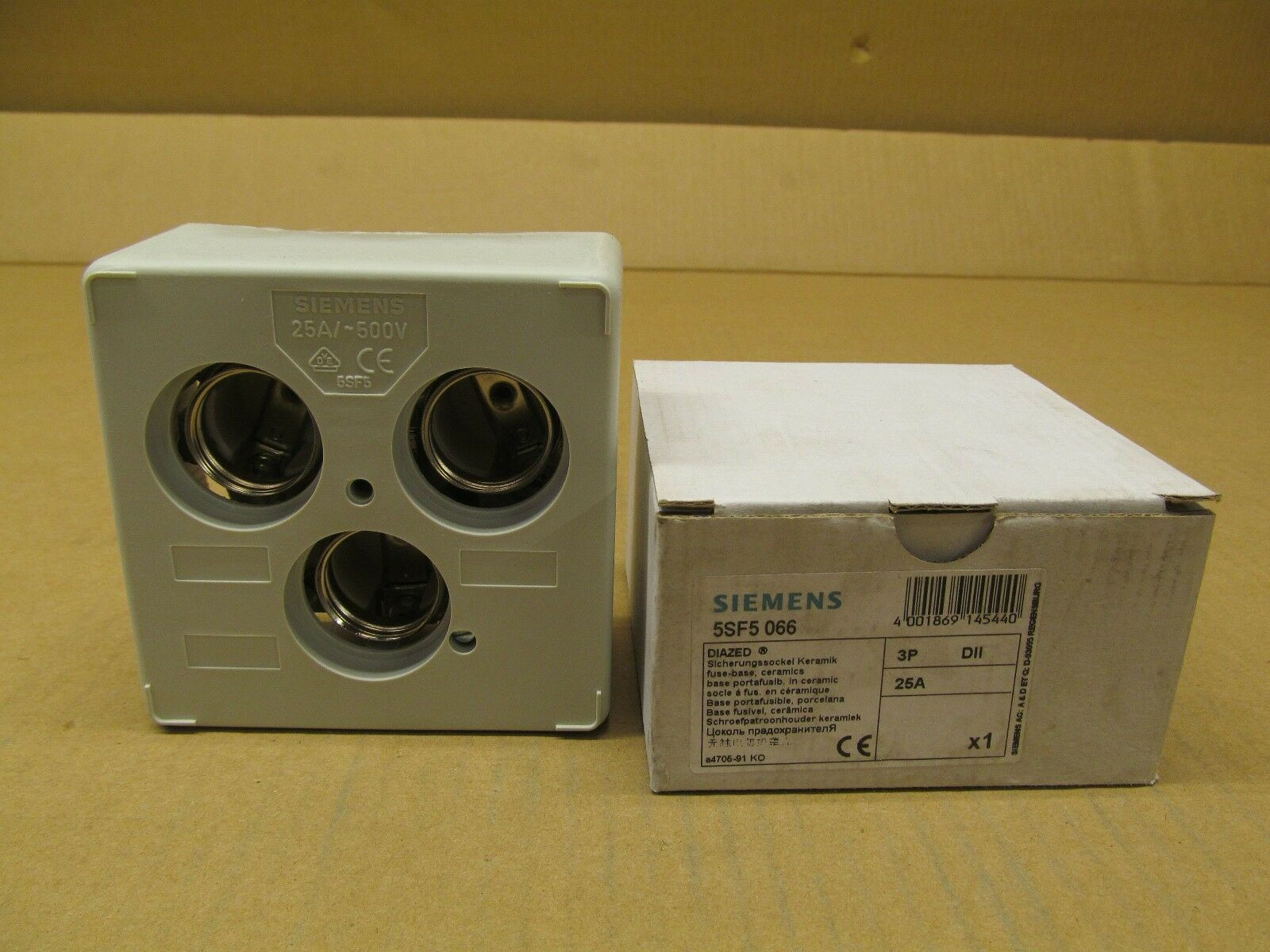 1 Siemens 5sf5 066 5sf5066 Diazed Fuse Base 3p Dii 25a 500v 25 Amp 3 Box Norton Secured Powered By Verisign