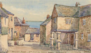 Thomas-Herbert-Victor-1894-1980-A-pair-of-Watercolours-Mousehole-Scenes