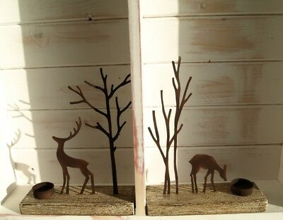 Deer and Tree Rust Finish Silhouettes on Plinth Tea Light Candle Display * Gift