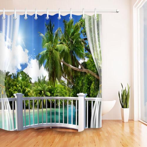 Plage tropicale Vert Palmiers Rideau de douche Set de salle de bains Tissu Imperméable