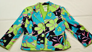 women's JPR  jacket size 8 multi-color floral collar  button front long sleeve