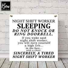 E150 LARGE DO NOT DISTURB NIGHT SHIFT WORKER SLEEPING NURSE KEEP QUIET DOOR SIGN
