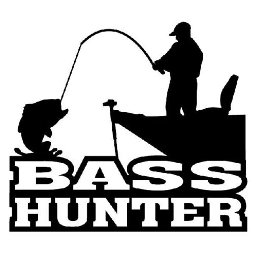 Bass Hunter Decal Sticker Car Window Fishing Rods Reels Bait Casting Boats Lake