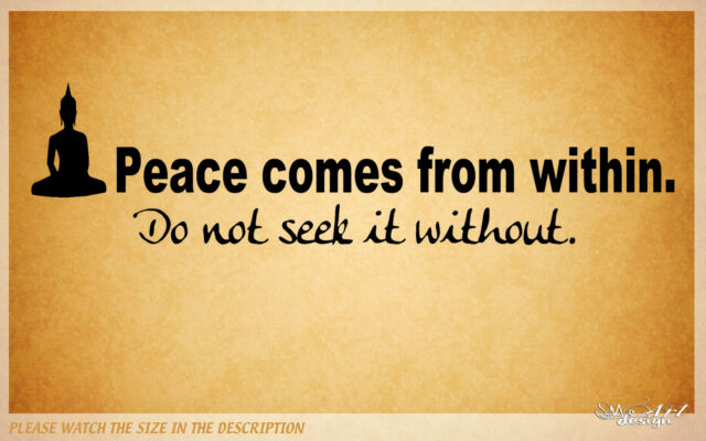 Vinyl Wall Decal Art LETTERING Decor Buddha QUOTES PEACE COMES FROM WITHIN