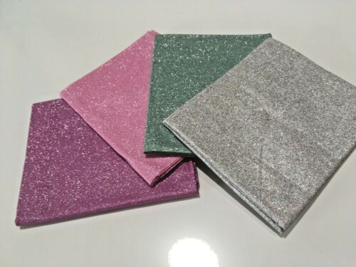 Paillettes de Noël argent rose vert 100/% Coton Tissu 4 FAT TRIMESTRE BUNDLE