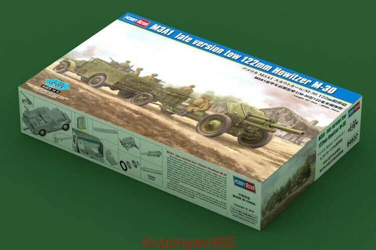 Hobbyboss 84537 1 35 M3A1 late version tow 122mm Howitzer M-30