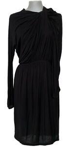 LANVIN BLACK LONG-SLEEVED DRAPED DRESS, S, $1250