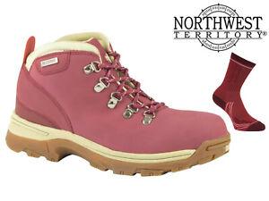 Womens-Waterproof-Hiking-Boots-NorthWest-Territory-Leather-Walking-Trek-Red