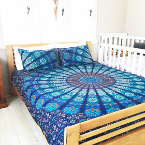 Mandala Twin Size Duvet Cover Indian Bohemian Quilt Cover 100% Cotton Navy Blue