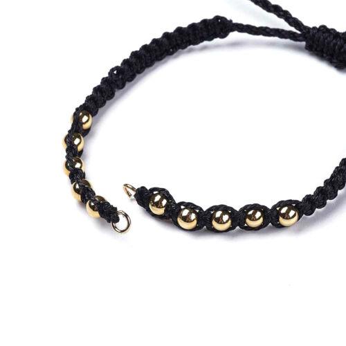 """10 Handmade Braided Polyester Cord Bracelets Blanks w// Tassel Brass Spacer 9.8/"""""""