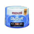 50 Maxell Recordable DVD R 16x Speed Blank Media Discs DVDR 4.7gb 120mins