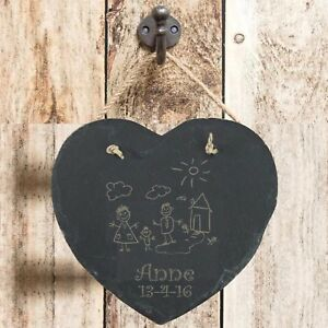Personalised-Birthday-Gift-Child-1st-Drawing-Slate-Hanging-Heart-Keepsake-Plaque