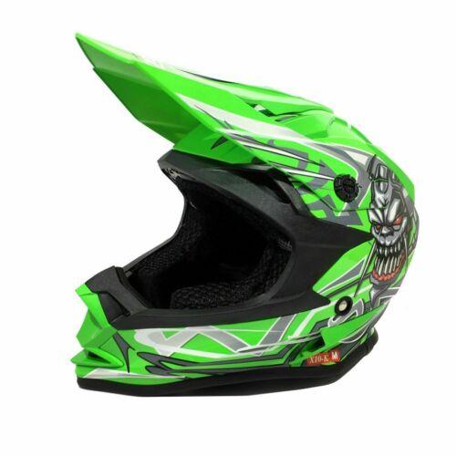 3GO X10 KIDS SKULL MX HELMET RED//SILVER QUAD KART RACE MOTOCROSS ACU ECE
