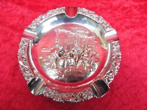 Very-Beautiful-Old-Ashtray-Relief-Silver-Plated-21cm