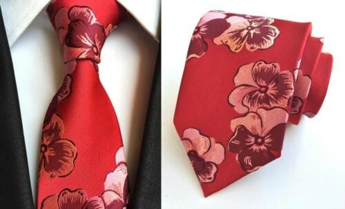 Red and Pink Flower Patterned Handmade 100/% Silk Tie and Pocket Square Set