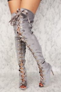 NEW-Women-039-s-Grey-Lace-Up-Front-Tie-Peep-Toe-Thigh-High-Heel-Boots-Choose-Size