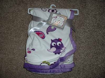 Blankets & Beyond Baby Infant Girls Soft Purple White Owl Blanket NWT Boutique