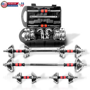 44lb Weight Dumbbell Set Adjustable Fitness GYM Home Cast Full Iron Steel Plates