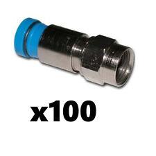 Belden SNS1P6 RG6 Coax Cable Compression F Connectors Blue 100 Pack Snap-N-Seal
