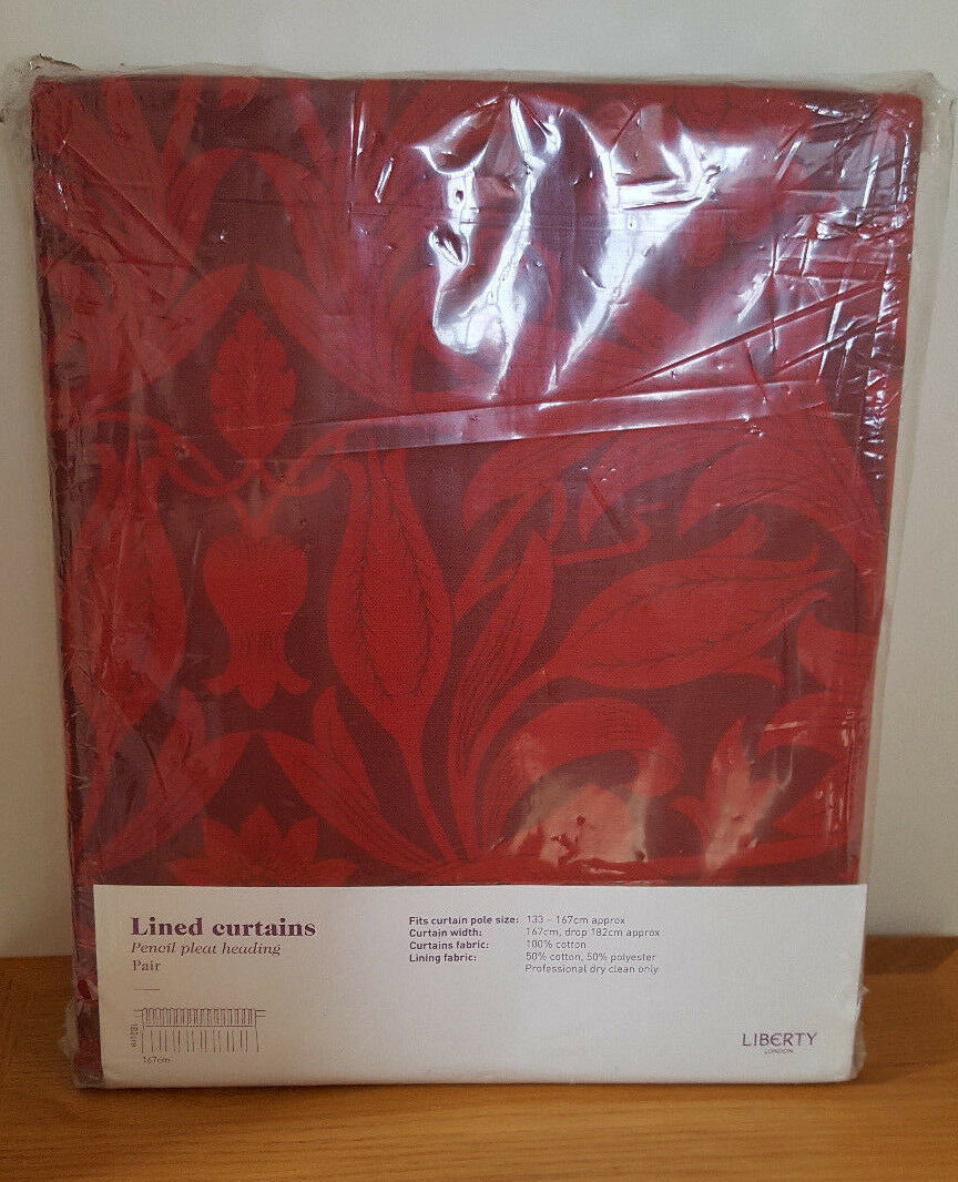 BNWT LIBERTY of London Merton BORDEAUX TENDE A RIGHE CON PIEGHE (167cm x 182cm)