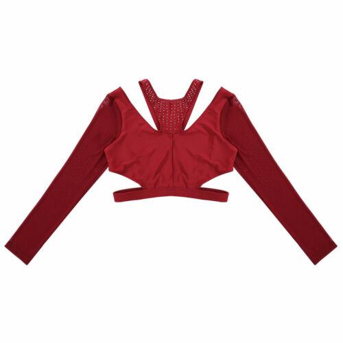 Women Long Sleeve Mesh Rhinestones Crop Top Ballet Belly Dance Work Out T-shirt