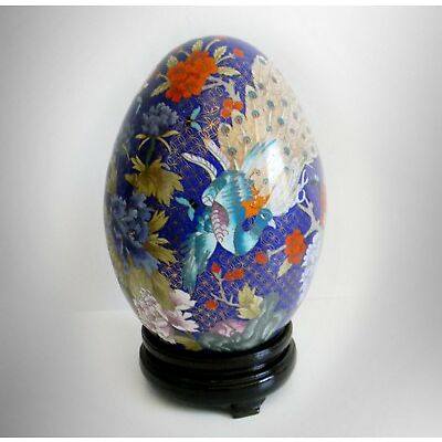 Cloisonne LARGE egg shaped floral and bird design with stand