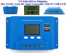 US 20A 12/24V Auto DC Solar Controller Battery Regulator with 5V USB LCD ANSI