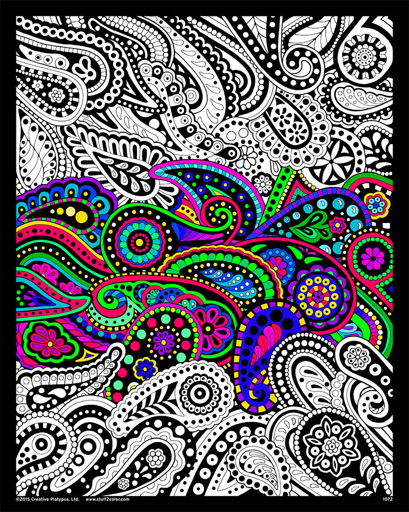Paisley - Large 16x20 Inch Fuzzy Velvet Coloring Poster for sale ...