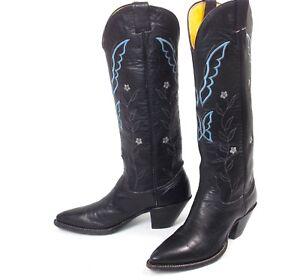 796fd56f61c6 Nocona Tall Black Cowboy Boots - Women s Sz 6.5B Tall Heels Plain ...